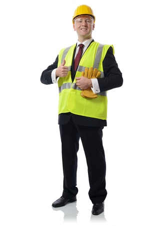 man in PPE Concept for using safety equipment isolated on white Stock Photo - 17515008