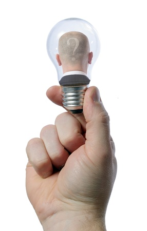man in light bulb - creativity concept Stock Photo