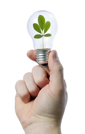 man holding light bulb in his hand - green concept photo