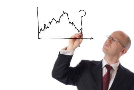 businessman drawing on copy space of stock market chart isolated on white photo
