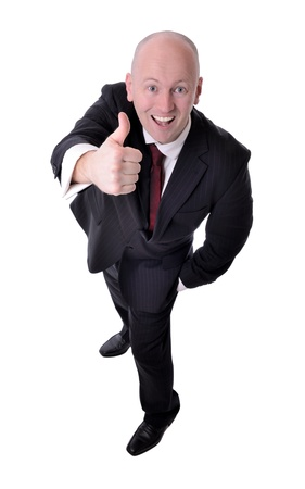 good attitude: thumbs up from a businessman viewd from above
