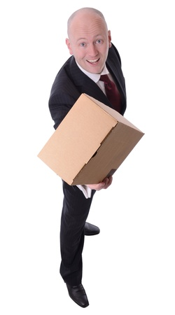 businessman offering a parcel isolated on white Stock Photo - 18915952