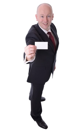 businessman holding up calling card with copy space isolated on white focus on card Stock Photo - 18915953