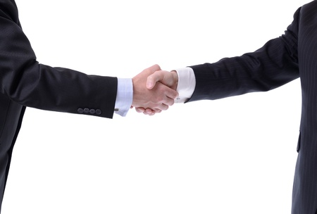 two businessmen shaking hands isolated on white photo