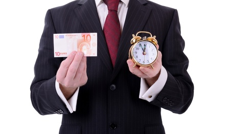time is running out for the euro, businessman holding a 10 euro note and clock isolated on white