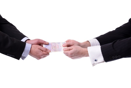 two businessmen fighting over money isolated on white Stock Photo - 18988429