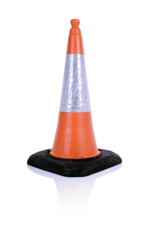 traffic cone: single traffic cone isolated on white background
