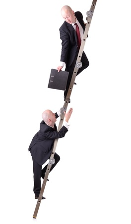 bridging the gap: concept of cooperation or self help passing a file down the ladder isolated on white background