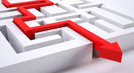 decision making: a red arrow making the right decision through a puzzle