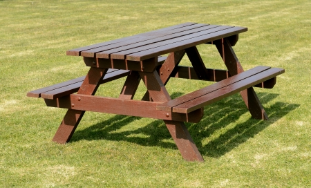 A park picnic table isolated on green grass background Stock Photo