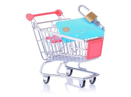 ���push cart���: open lock on credit debit card sat in a push cart Stock Photo