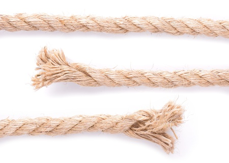 three rope parts middle and two ends to make any length of rope you like, isolated on white
