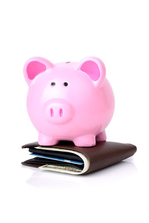 financial item: smart with your money a biggy bank on top of wallet