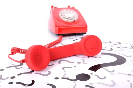 call us: Give us a call if you have a question   Stock Photo