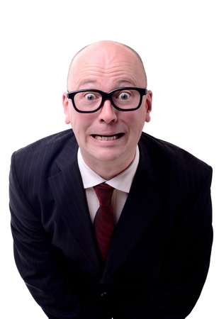 man nuts: businessman with thick glasses made a mistake or kick in the balls