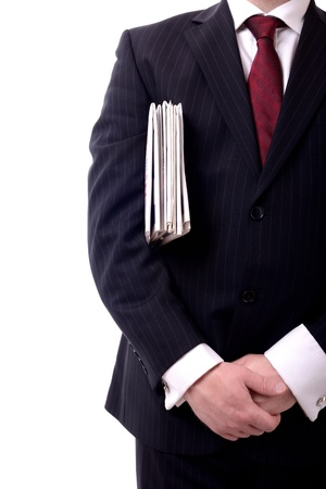 businessman with a group of papers under arm isolated on white photo