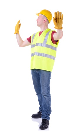 road worker: Construction worker gesturing stop for traffic to pass isolated on white