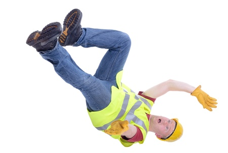 liability: Construction worker falling isolated on white background Stock Photo