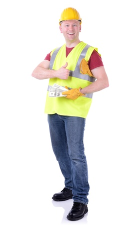 construction worker making money or being paid isolated on white Stock Photo - 19536464