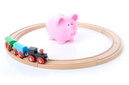 no access: no access to money concept train circling money bank