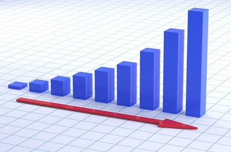 graph paper: business graph of growth ans sucsess on graph paper Stock Photo