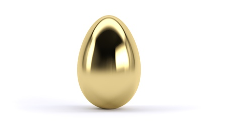 A golden egg on a white background