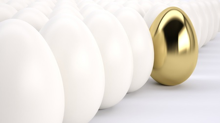gold eggs:  leader standing out from the crowd Stock Photo