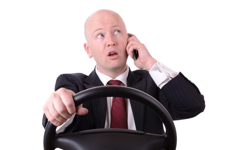 Bad driver talking on mobile whilst driving