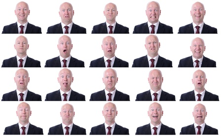 male facial: XXL high resolution image of a businessman facal expressions isolated on a white background