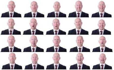 gestos de la cara: XXL imagen de alta resoluci�n de un hombre de negocios expresiones Facal aislado en un fondo blanco