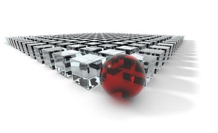 acute angle: Concepto de liderazgo de una esfera roja en un grupo de cubos