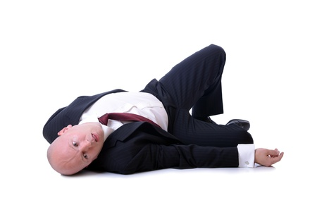 man lying down: death of a sales man, or passed of from shock