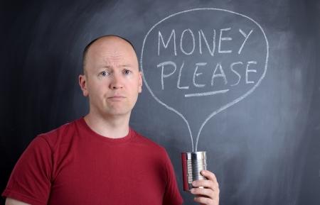 dare soldi: si prega di dare i soldi per beneficenza Archivio Fotografico