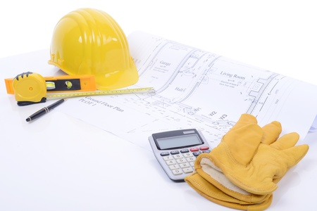 construction plans and equipment ready to build photo
