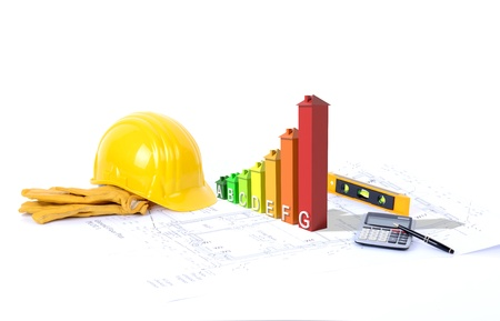 Concept for environmentally friendly construction a 3d graph of growth on blueprints