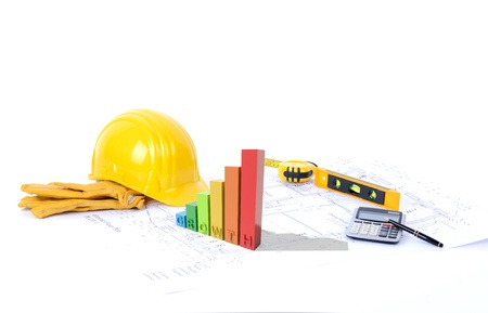stock market chart: Concept for growth on construction a 3d graph of growth on blueprints Stock Photo