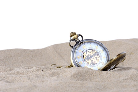 sands of time, lost in time or holiday time concept isolated on white photo