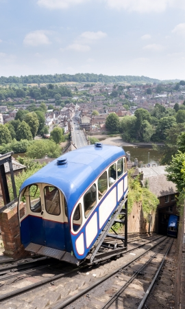 railway history: old funicular railway in bridgnorth market town in england Stock Photo