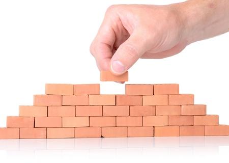 edificio: Concepto de habilidad o la construcci�n de un equipo de trabajo conjunto. Foto de archivo
