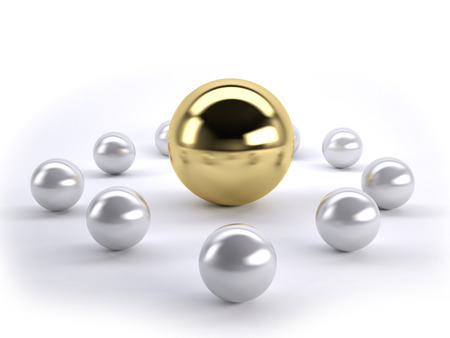 A gold ball in many silver balls concept of leadership