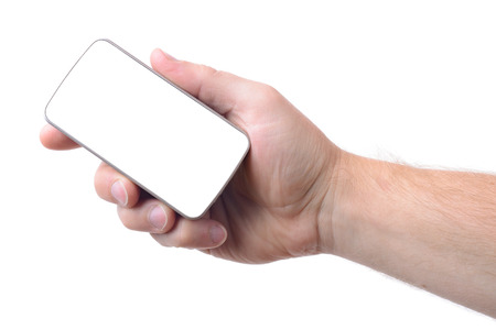 clipping  messaging: male hand holding a smart phone with clipping path to instert design isolated on white background