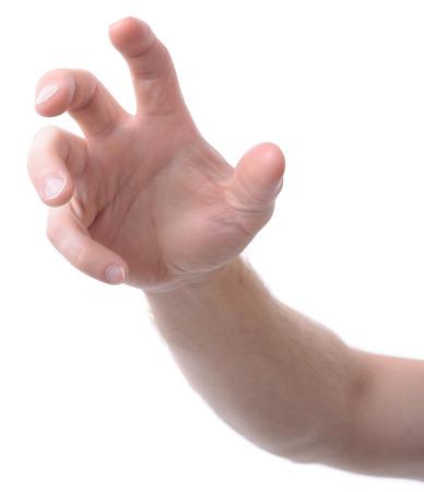 mano isolati su bianco gesticola afferrare o raggiungere