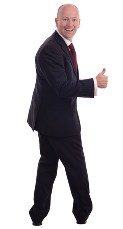 back up: businessman turned around with a big thumbs up isolated on a white background