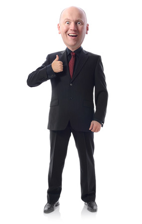 ego: smiling businessman with big head in suit gesturing thumbs up sign isolated on white Stock Photo