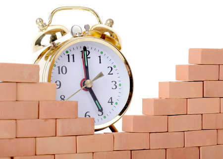 breaking down: concept breaking down the walls of time Stock Photo