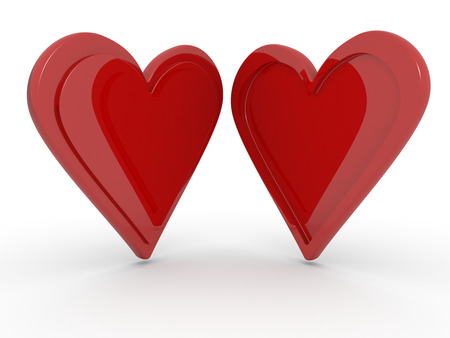 two hearts: Two hearts together isolated on a white background, opposite profiles concept of opposites attract Stock Photo