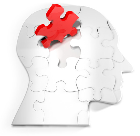 Concept for the mind and puzzle head with one red jigsaw photo