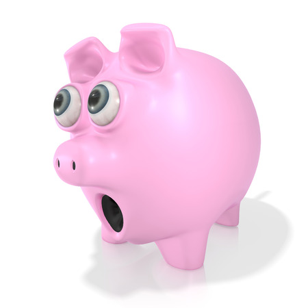 finacial: A pink piggy bank eyes popping out and shocked looking at something isolated on a white  Stock Photo