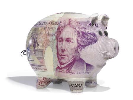 libra esterlina: Lengüeta cubierta de nota de veinte libras aislado en un blanco Foto de archivo