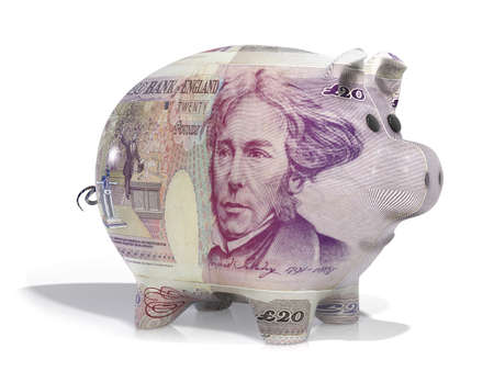 pensions: Piggy back covered in twenty pound note isolated on a white  Stock Photo